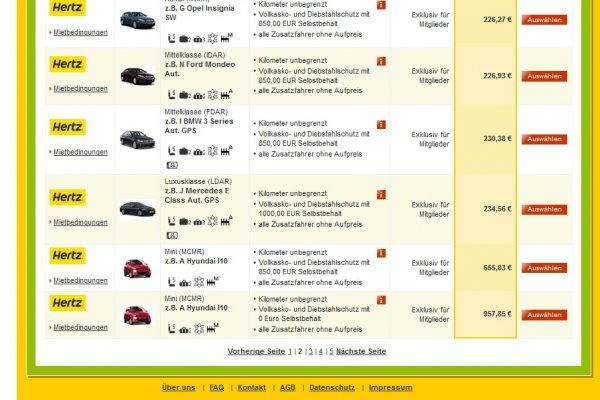Monatsmieten LDAR (BMW 5er, MB E-Klasse o.ä.) bei Hertz für ~235 EUR inkl. aller km und Versicherung