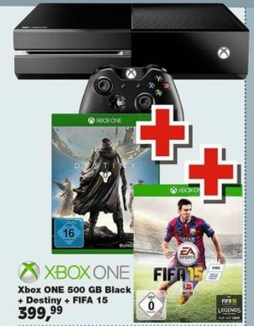 Xbox One 500GB (ohne Kinect) + Destiny + Fifa15 für 399,99€ @ToysRus (Bundesweit/Offline)