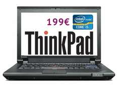 Lenovo ThinkPad L412 Intel i5 2,4Ghz 2Gb 160Gb UMTS Win7Pro refurbished A-Ware für 199 Euro