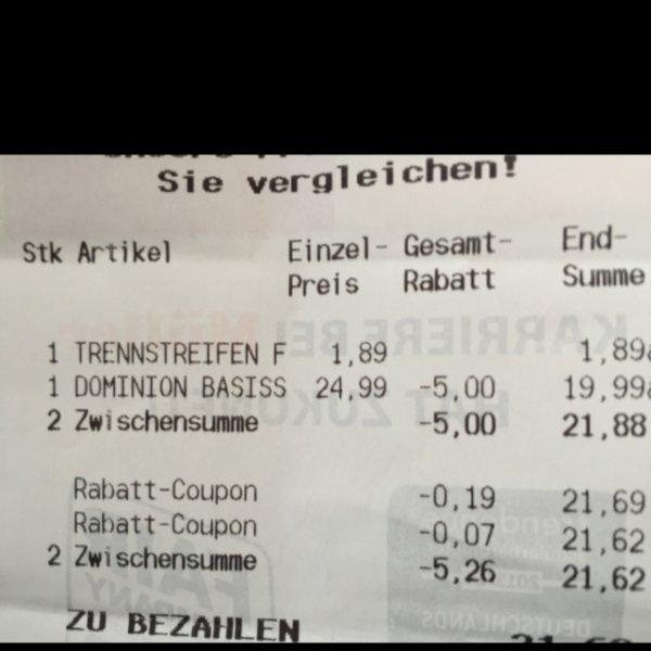 (Lokal?)Dominion Basisspiel 19.99 im Müller Jena