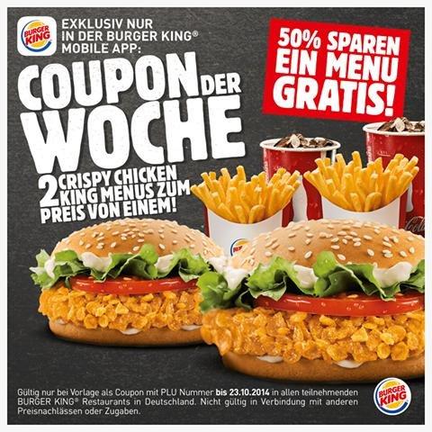 [Burger King] 2x Crispy Chicken Menü zum Preis von einem!