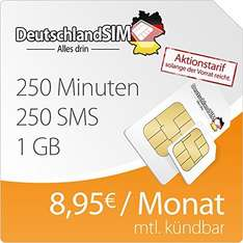 Monatlich kündbar! - DeutschlandSIM SMART 1000 (1GB Daten-Flat mit max. 7,2 MBit/s, 250 Frei-Minuten, 250 Frei-SMS, 4,95 Euro/Monat, 15ct Folgeminutenpreis) O2-Netz