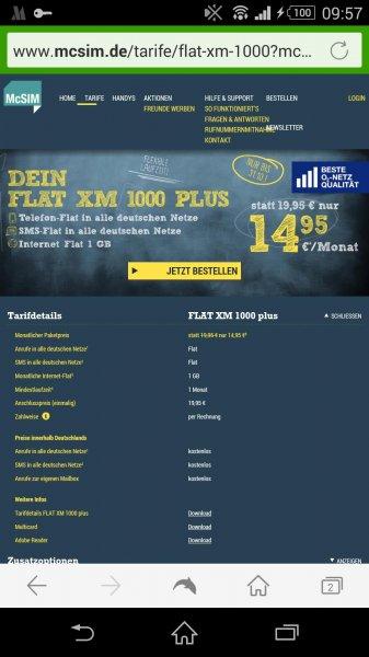 McSIM Flat XM 1000 Plus//SMS Flat,Allnet Flat,1GB Datenvolumen