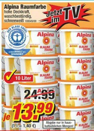 10 Liter Alpina Raumfarbe schneeweiß bei POCO vom 18.10 bis 22.10.2014