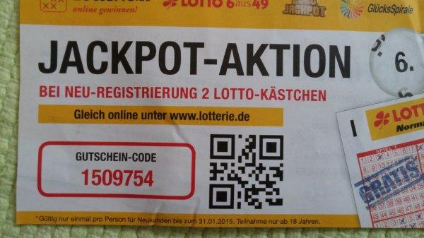 2 Felder Lotto gratis Lotterie.de bis 31.01.2015 Neukunden + Bestandskunden