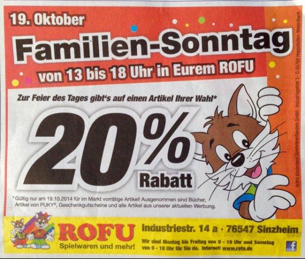 Verkaufsoffener Sonntag im ROFU Kinderland Sinzheim (76547) - 20 % auf einen Artikel