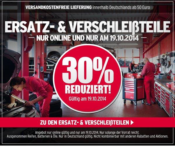 30% auf alle Ersatz und Verschleißteile im ATU Onlineshop....Nur am 19.10.2014