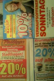 "[Lokal offline] 31655 Stadthagen - 20 % Rabatt bei ""Thomas Philipps"", ""Bettissimo"". 10 % ""Netto Marken-Discount"" am So., 19.10.2014, 13/14-18 Uhr"