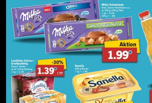 Lidl Landliebe Grieß / Sahnepudding statt 1,99,- für 1,39,- und Milka Schokolade große Tafel statt 2,59,- für 1,99,- vom 20. bis 25. 10.