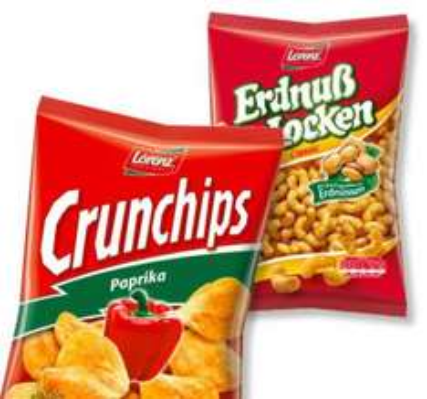 [HIT BUNDESWEIT] Lorenz Crunchips oder Erdnusslocken 250/175g Nur Samstag 25.10.