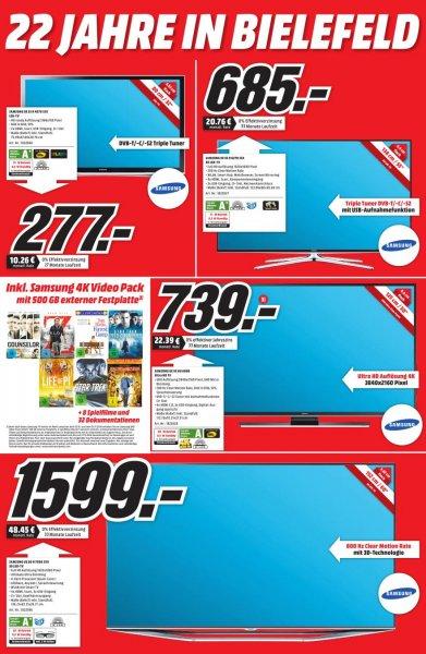 "Samsung UE55HU6900 - 55"" 4k-TV inkl. 500 GB HD mit Filmpaket im MM Bielefeld für 739.- Euro"