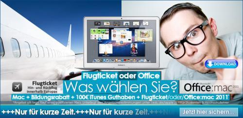 Apple Mac + 10% Rabatt + 100 Euro Itunes Gutschein + Office 2011/oder Fluggutschein!!! + 80 Euro Drucker (für Studenten)