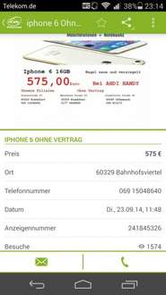 [Lokal Frankfurt] iPhone 6 16 gb für nur 575 €