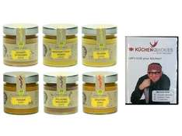 STEFAN MARQUARD 6er Gourmet Senf Geschenkset plus Koch-DVD @null für 4,99€ inkl Versand