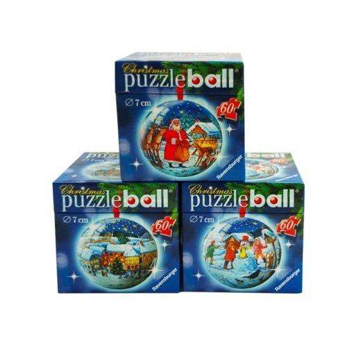 3er-Set Ravensburger 3D Puzzleball® ''Weihnachtliche Motive'', 180 Teilig (3x60 Teile) mit Aufhänger für 9,99€ frei Haus @DC
