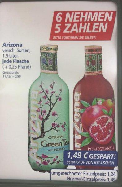 [Lokal Ratingen] real,- Arizona Eistee 1,5l für 1,24€ beim Kauf von 6 Flaschen, Einzelpreis 1,49€
