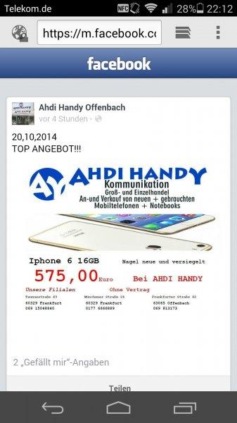 [Lokal Frankfurt + Offenbach] iPhone 6 für nur 575 Euro