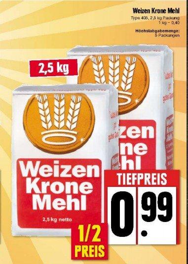 Lokal: Edeka Nordbayern Weizenmehl Typ 405 2,5 Kg für 0,99