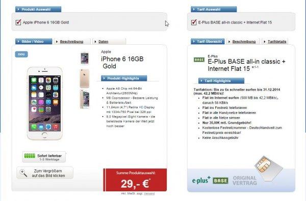 Apple iPhone 6 16GB in Gold, einmalig 29€ und 35€/monatlich (E-Plus Base)