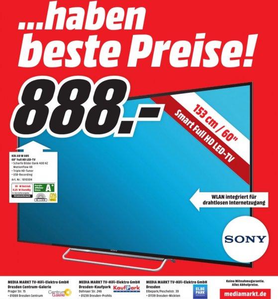 [Lokal Dresden] Sony Bravia KDL-60W605 für 888 Euro Abholpreis bei Media-Markt - 60Zoll, 400Hz, LED, FullHD