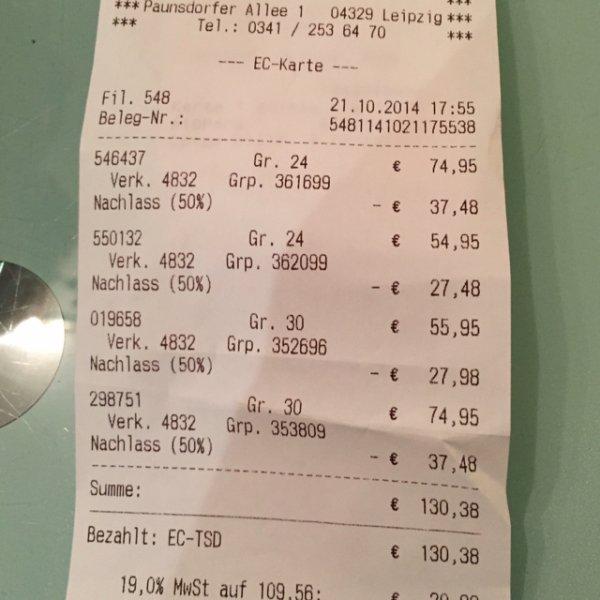 (Lokal) Leipzig: 50% auf alle Schuhe bei Schuhmarkt (Klauser) wegen Räumung