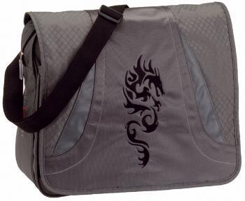 Take it Easy Half Pipe Schultertasche Dragon in Silber und Schwarz für 19.90€