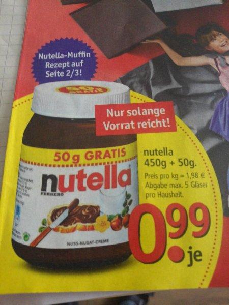 Offline Lokal Nutella 450g+50g (500g) 0,99€ ( 1,98€ / kg) - trendpoint Möbel Borst Ehingen bis 05.11.