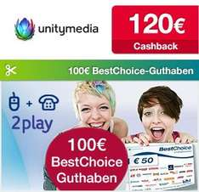 Qipu: Unitymedia 120€ Cashback & 100€ BestChoice-Gutschein für 100 Mbps Internet- und Telefonflat