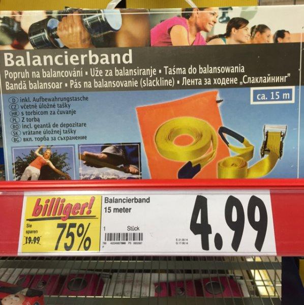 4,99€  Balancierband Slackline 15m Kaufland [Lokal] Velbert