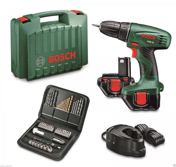 Bosch Akkuschrauber PSR 12 grün Schrauben LED-Licht Softgrip 700U/min Transportkoffer | Ladegerät | 2x Akku | 51 tlg. Zubehör @ebay 69,90€