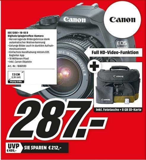 [Würzburg] Canon EOS 1200D 18-55 mm Kit + 8GB SD Karte + Tasche für 287€ bei MediaMarkt