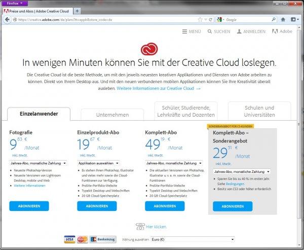 Adobe testet Abo-Preise: CC-Pakete z.T. deutlich günstiger z.B. Fotografie-Programm 9,83€/Mon.
