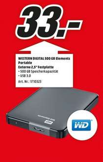Western Digital Elements Portable 500GB für 33€,Surface Pro 3 128GB i5 für 888€ (Lokal) @ Mediamarkt Paderborn