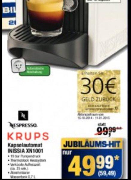 [Metro Neuss] Samstag 25.10. dank Jubiläum: Nespresso Inissia XN1001 für 59,49€ abzgl. 30€ Cashback nur noch 29,49€!!