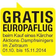 GRATIS EUROPAFLUG beim Kauf eines Kärcher Aktions-Dampfreinigers (ab 85 Euro)