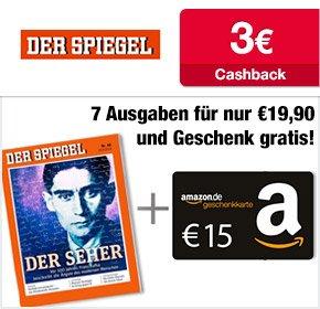 7 Ausgaben DER SPIEGEL für 19,90€ + 15€ Amazon Gutschein + 3€ Cashback = effektiv nur 0,27€ pro Ausgabe