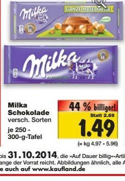 [Kaufland bundesweit] Milka 250-300g Tafeln für 1,49€