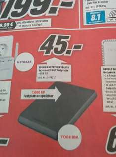 Media Markt - 1TB 2,5 Zoll HDD USB 3.0 -  Toshiba