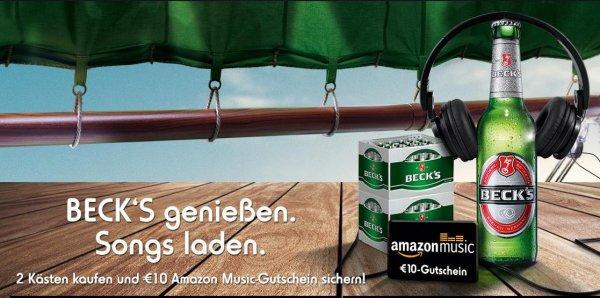2 Kästen Becks Bier für 30,18€ incl. Pfand kaufen & 10€ Amazon Music Gutschein bekommen