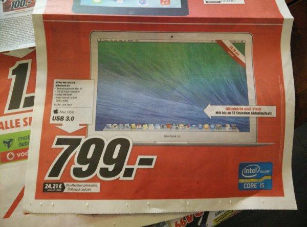 [Lokal: Mediamarkt Papenburg] Apple MD 760 D/B MacBook Air, 128GB, für 799 €