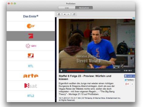 Live TV: Streaming-App für Android, iOS und Mac gratis