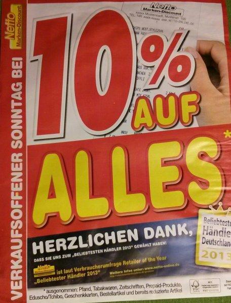 Lokal: Kandel - Netto ohne Hund: Verkaufsoffener Sonntag (26.10.2014) und 10% auf alles*
