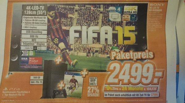 [Lokal] Sony 4K TV KD-55X9005B inkl. PS4 + FIFA 15 für 2499€ / Expert Klein