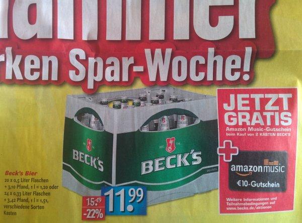 EDEKA  Unterfranken 2 Kästen Becks Bier 20x0,5L oder 24x0,33  +10€ Amazon Music Gutschein (Kasten effektiv  6,99€)