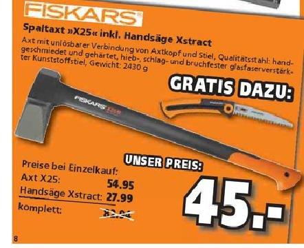 |lokal| Fiskars Spaltaxt X25 inkl. Handsäge Xstract Globus Kulmbach