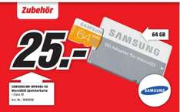 [Lokal] Samsung Memory 64GB EVO MicroSDXC für 25€ @Mediamarkt Stuhr/Groß Mackenstedt