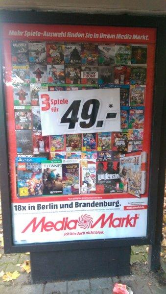 Mediamarkt 3 Spiele für 49,- (LOKAL - Berlin/Brandenburg)