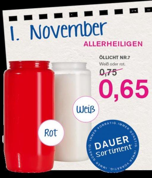 Öllicht Nr. 7 bzw. Grabkerzen für 0,65€ im KODi Onlineshop, bei Abnahme von 77 Stück