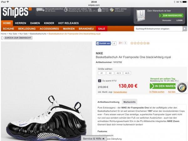 Nike Air Foamposite One bei Snipes für schlappe 130€ statt 220€