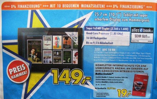 [Euronics offline/online?] Kobo Arc 10HD 2560 × 1600 Pixel ab Mittwoch - Idealo 199€
